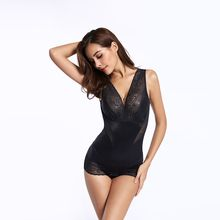 Lace Floral Bodysuit Crotch Silk Material Sexy Firm Ultrathin Shapewear Conjoined pajamas Control Waist Trimmer Bodysuit
