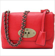 2018 Plain Lock Promotion Bags Women Limited Red Black The First Layer of Leather Embossed Bag 2017 Ms. Fang All-match Chain Fashion Trend