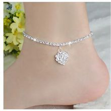 Cute DIAMANTE RHINESTONE ANKLET WITH HEART ANKLE CHAIN Women Jewelry Fashion For Sale