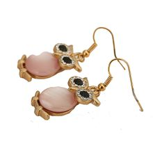 Wholesale New Jewelry Matte gold Plated Rhinestone Austria Crystal Owl Design Earrings High Quality