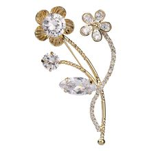 Plant Design Gold Silver Plated Women Brooches Alloy Flower Zirconia Brooch Pins