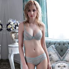 MOXIAN/Small fresh brassiere set transparent lure lace underwear bra Factory direct wholesale sexy ultra-thin White black 32-42 A/B/C/D 2041