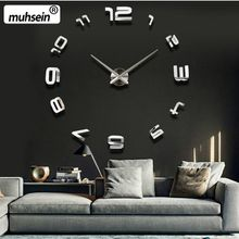 Wholesale-2017 muhsein NewWall Clocks 3d Large Diy Acrylic Mirror Stickers Wall Clock Home Decoration Living Room