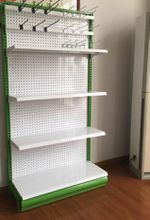 OEM retSupermarket steel perforated back panel shelf with pegboard