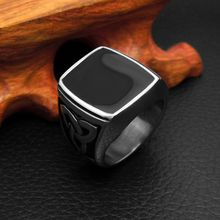 Men's and Women Vintage Black Stainless steel Rings Fashion 316L Titanium Big Rings Jewelry Accessories