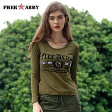 FREE ARMY Brand Letters Printing T-shirts Women Autumn Bottom Shirt 93% Cotton+7% Spandex Military Green Female Tops Tees O-neck GS-8753A