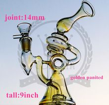 Corona Recycler Glass Bong Dab Oil Rigs awesome triple cyclone inline arm heady bongs gear perc water pipes rig bowl quartz banger