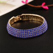 European and American fashion diamond crystal diamond bracelet with drill 5 rows bracelet the bride adorn article