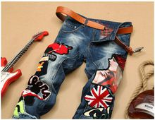 Men's Patchwork Denim Blue Jeans Locomotive Pants Embroidery Beauty Badge Cool Stylish Design Skinny Straight Slim Pants 28-38