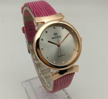 Factory Direct Quartz Watch Woman's Leather Fashion Watch Rose Gold China Guangzhou Brand MUONIC Copy Watch
