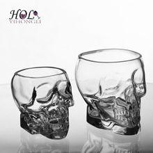 Hot sale skull glass beer mug, different sizes skull beer glass