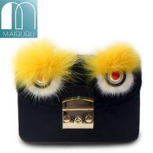 Maidudu 2018 Fashion Attractive Monster Eye PU Leather Women Shoulder Bag Luxury Quality Velvet Girl's Cross-body&Messenger Bag