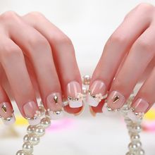 Hot-sale product Beige Bridal Nail Slice 3D Stereoscopic Beauty 24piece Flower Full Fake Nail Patch Tips Sticker Nail Art Box Product