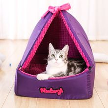 Pet Dogs Cats Winter Summer Dog Bed Kennel Removable Detachable Waterproof Oxford Cloth Solid Color Outdoor Pet Supplies