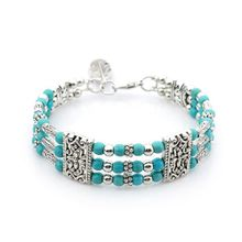 Free shipping! 2018 2019 925 Sterling Silver Three rows of plasterite zinc alloy fashion woman bracelet feather pendant color choice Jewelry