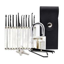 Transparent Practice Padlock 12 Piece Unlocking Lock Pick Set Key Extractor - Basic Practicing Lock Picking Set for Locksmith Beginners