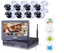 insoer 10 Inch LCD Screen Wireless Wifi Surveillance WiFi NVR Kits with 8 pcs 720P IR Fixed Lens Bullet Network Cameras