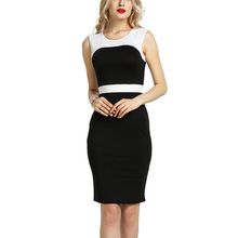 BOFUTE New Europe America Spring Summer Women's Dresses Sexy Package Hip Tight O-Neck Sleeveless Dress 16039