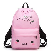Wholesale Top Quality Outdoor New Designer Pink Backpacks Lovely Drawing Small Face Character School Bag Duffel Bags Daypack F80-S30
