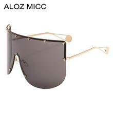 ALOZ MICC Women New Oversized Sunglasses Men 2019 Brand Designer Half Frame Sunglasses Women Windproof Visor Goggles Eyewear A462