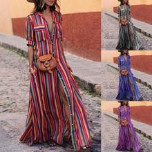 Long Dress Summer 2019 Striped Print Deep V Neck Dress Bohemia Beach Dress Women Casual Loose Dresses