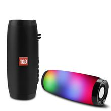 T&G Wireless Bluetooth Speaker LED Portable Boom Box Outdoor Bass Column Subwoffer Sound Box with Mic Support TF FM USB