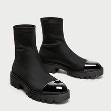Fashion women platform heel boots stretch fabric bootleg socks boots half boots dress shoes 2018 Hot sale