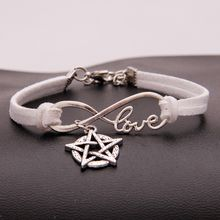 Monochrome Woven Handmade Light Blue Leather Bracelets For Women And Men Infinity Love Pentagram Star Bangles With Braided Rope Cuff Jewelry