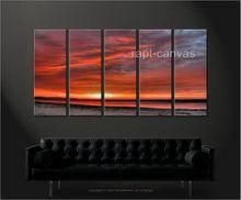 from artist T52 Art handmade oil painting on canvas modern 100% handmade original directly Red sky sunrise landscape