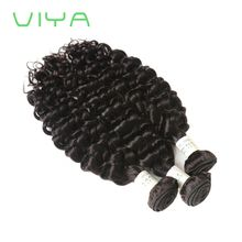 VIYA Hair Products Brazilian French Curly Hair Weave Human Hair Thick Virgin Hair Bundles 3 Pieces Natural Black Color Can Be Dyed WY901D