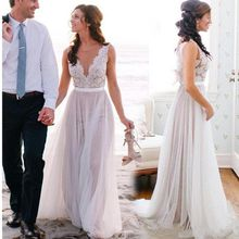 Simple Scoop Neck A Line Wedding Dresses Tulle Back Zipper Bridal Gowns