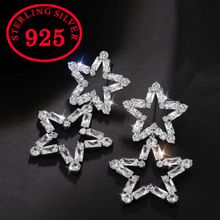 New Fashion Geometric Double Star long Earrings For Women Luxury AAA CZ Stud earrings 925 silver Jewelry