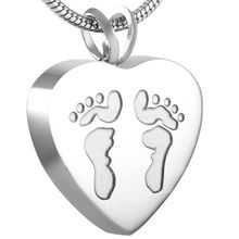 Silver/Rose/Gold/Black Footprint Engrave Cremation Funeral Urn Pendant Stainless Steel Memorial Urn Pendant Necklace Women Jewelry