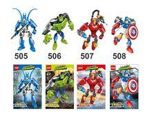 505-508 4pcs Avengers Super Hero Iron Man Captain America Hulk Batman Building Block Brick Toy