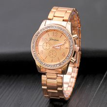 New Geneva three diamond diamonds alloy watch women Europe and the United States steel leisure jewelry watch