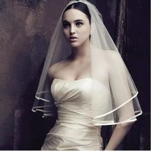 New Veil Wedding Dress Bridal Gown White Ivory Tulle Two Layers Ribbon Edge Elbow Length Cheap