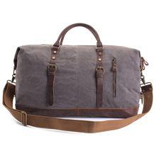 AUGUR Oversized Canvas Genuine Leather Trim Travel Tote Duffel Shoulder Handbag Weekend Bag