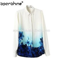 White chiffon shirt Women Blouses Summer