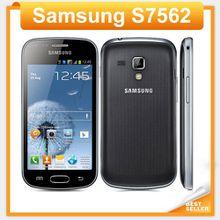 S7562 Original phone Samsung galaxy s duos s7562 dual sim cards GSM 3G 4.0'' Wifi GPS 5MP Camera Unlocked Cell phone Refurbished