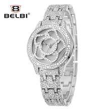 China Women Watches Casual Fashion Luxury Wristwatches Quartz Stainless Steel Quartz Battery Waterproof Japan Movement Flower Brand Belbi