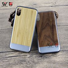 Metal Aluminum Wood Cell Phone Cases for iPhone X 8+ 7+ 8 7 10 Clear Bamboo Stitch Full TPU Silicone edge Cover Shockproof