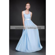 2017 Sky Blue chiffon A Line halter Lace-up Floor Length Sleeveless Sash Draped Long Bridesmaid Dresses Country Maid of Honor Dress Gowns
