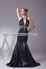 Black Spandex Mermaid/Trumpet Halter Lace-up Sweep Train/Brush Train Sleeveless Evening Dresses