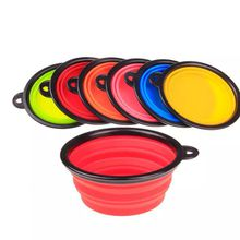 Fashion Outdoor Dog Cat Pet Travel Bowl Silicone Collapsible Feeding Food Water Dish Circular Feeder Portable