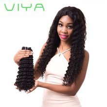 VIYA Deep Wave Indian Virgin Hair Unprocessed Extensions 3 Bundles Natural Black Color No Tangle Hair Extensions WY831H