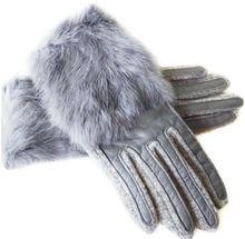 2017 Winter Genuine Lamb Leather Women Full Finger Gloves Thermal Wool Rabbit Fur Patch-work Female Warm Mittens 9858