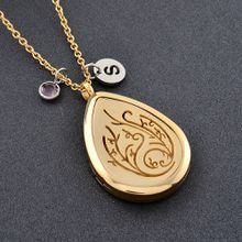 IJPD0026 Gold Plating Stainless Steel Diffuser Locket Aromatherapy Essential Oil Pendant Necklace