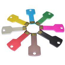 2017 Popular Metal Key Shape USB Flash Stick Memory Disk Pen Drive 2GB 4GB 8GB 16GB 32GB Promotional Gifts