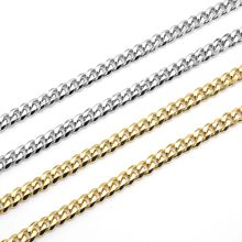 """USENSET Necklace Cuban Link Chain Stainless Steel 18K Gold Plated Tone Punk Jewelry Bracelet Necklace(3 5 7mm24"""")"""