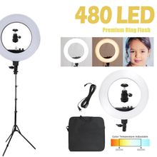 18inch 36W 5000K Camera Ring Light and Light Stand Lighting Kit Dimmable Light Stand with Ball Head Hotshoe Adapter for Camera Photo Studio